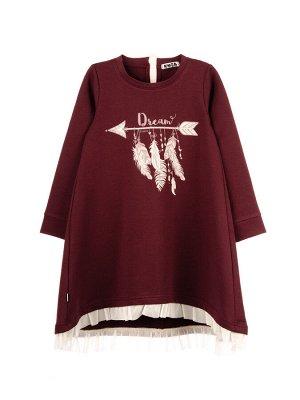 Платье Состав: хлопок 92%, эластан 8%  Платье с длинным рукавом, спереди принт со стразами. По низу платья рюш из сетки-стрейч с необработанным краем. Платье изготовлено из петельчатого футера с эласт