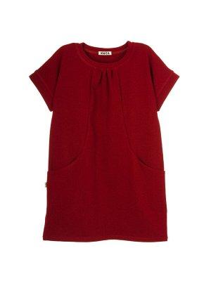 Платье Состав: хлопок 92%, эластан 8%  Платье со спущенным плечом. В горловине манжет. Спереди декоративные подрезы, в которые вшиты карманы. Изготовлено из кулирки с лайкрой.