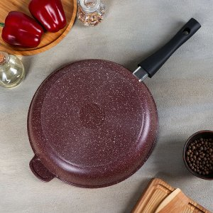"Сковорода ""Шоколад"", 28х7 см, съёмная ручка, стеклянная крышка"