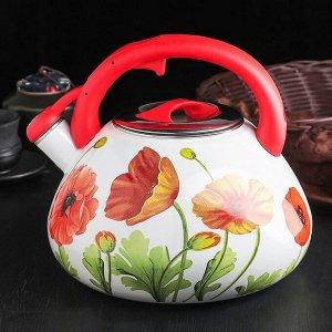 Чайник эмалированный со свистком «Чудесница. Маки», 3,5 л