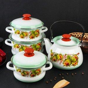 Набор посуды «Орешек», 4 предмета: кастрюли 1,6 л, 2,1 л, 3 л, чайник 3 л