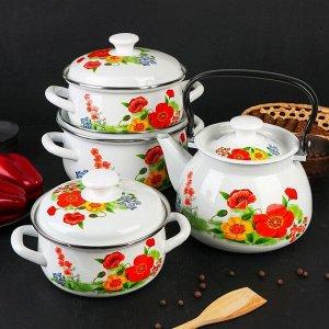 Набор посуды «Франческа», 4 предмета: Кастрюли 1,5 л, 2 л, 3 л, Чайник 3 л