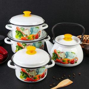 Набор посуды «Готовим вместе», 4 предмета: кастрюли 2л, 3л, 4л, чайник 3 л