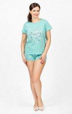 Пижама с шортами, принт, ментол (633-1)