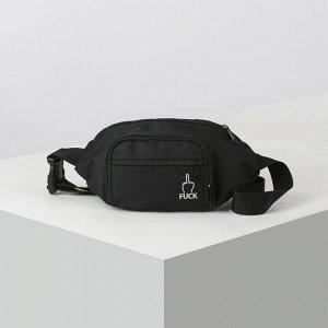 Сумка поясная, отдел на молнии, наружный карман, цвет чёрный 4936003