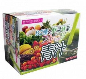 Аодзиру 100% порошок из молодых побегов ячменя +экстракты 82 овощей и фруктов, 25 пакетов по 3г