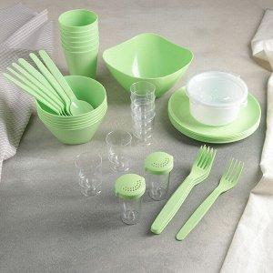 Набор для пикника Party, 40 предметов, цвет салатовый