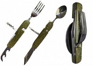 Набор походный раскл.(6 предм) вилка, ложка, нож, шило,откр.,штопор,чехол,рук.пласт.под дерево(YK06)