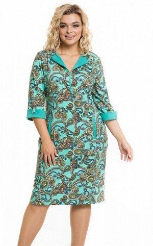 Платье 946 огурцы на мятном
