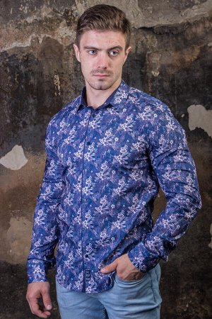 Рубашка 2547 индиго-сиреневый BLACK STONE №01