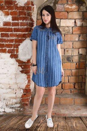 Туника Бренд: Натали Ткань: джинс СОСТАВ: хлопок 95%, п/э 5% Туника джинсовая, женская удлиненная. С печатью стразами, полосами и эффектом потертости