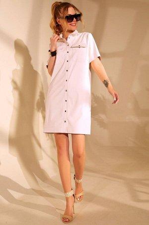 Платье Платье Golden Valley 4657 светлое  Состав ткани: ПЭ-100%;  Рост: 170 см.  Платье с центральной застежкой на кнопки, втачным воротником с отрезной стойкой. По переду с накладными карманами с кл