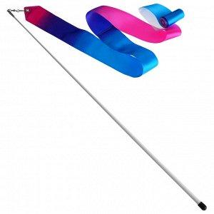 Лента гимнастическая с палочкой 56 см, 4 м, цвет белый/синий/розовый