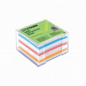 Блок бумаги для записей «Офис», 9 x 9 x 5 см, 65 г/м2, в прозрачном пластиковом боксе, цветной