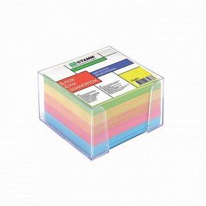 Блок бумаги для записей, в пластиковом боксе, 8 x 8 x 5 см, цветной