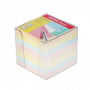 Блок бумаги для записей Erich Krause, 9 х 9 х 9 см, в пластиковом боксе, цветной, 80 г/м2