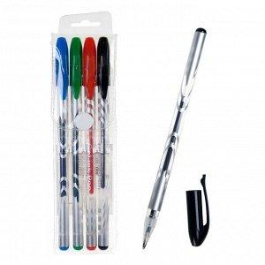 Набор гелевых ручек, 4 цвета: синий, чёрный, красный, зелёный