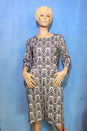 Платье Материал трикотаж с набивным бархатом.42: Рукава 46 см, Длина 96 см, ОГ 88 см, ОТ 66 см, ОБ 90 см. 48 ОГ: 90, ОТ 80см, ОБ: 100см, длина 100см, по бокам 2 кармана. Имеет небольшой складской запа