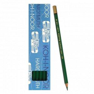 Карандаш акварельный Koh-I-Noor Mondeluz 3720/026, зеленый темный, 175 мм, грифель 3.8 мм, ЦЕНА ЗА 1 ШТ