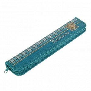 Пенал для кистей, 340 x 70 мм, ламинированный картон, «Оникс», ПКК 08-5, «Эмблема на бирюзовом»