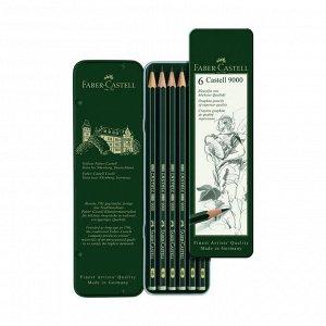 Набор карандашей чернографитных разной твердости Faber-Castell CASTELL 9000, 6 штуки, 8B-HB, металлический пенал