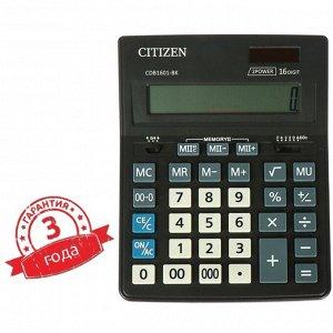 Калькулятор настольный 16-разрядный CDB1601BK 155 х 205 х 35 мм, двойное питание, чёрный