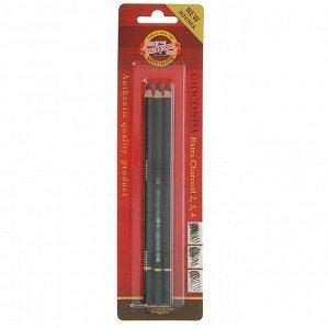 Уголь в карандаше 4.2 мм, набор 3 штуки, Koh-I-Noor GIOCONDA 8811, №,2,3,4 (искусственный), блистер