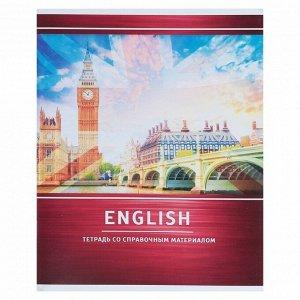 Тетрадь предметная «Металл», 48 листов в клетку «Английский язык» со справочным материалом, обложка мелованный картон, белизна блока 75%