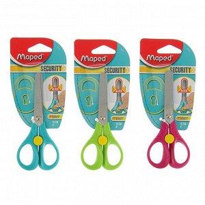 Ножницы детские 13 см, Security 3D, симметричные, эргономичные кольца, блистер, МИКС