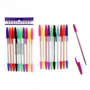 Набор ручек шариковых 10 цветов, корпус прозрачный, с цветными колпачками