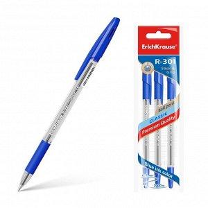 Набор ручек шариковых 3 штуки R-301 Classic Stick & Grip, узел 1.0 мм, чернила синие, резиновый упор, длина линии письма 800 метров, европодвес