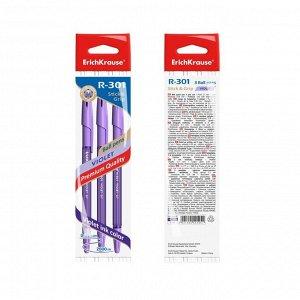 Набор ручек шариковых 3 штуки R-301 Violet Stick & Grip, узел 0.7 мм, чернила фиолетовые, резиновый упор, длина линии письма 2000 метров, европодвес