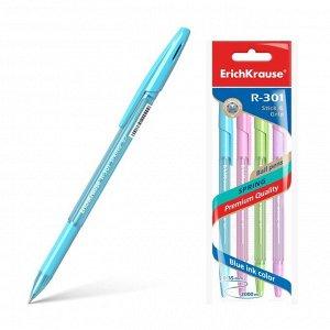 Набор ручек шариковых 4 штуки R-301 Spring Stick & Grip, узел 0.7 мм, чернила синие, резиновый упор, длина линии письма 1000 метров, европодвес