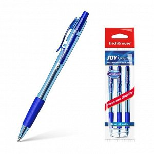 Набор ручек шариковых автоматических 3 штуки Ultra Glide Technology JOY Original, резиновый упор, узел 0.7 мм, чернила синие, длина линии письма 1300 метров, европодвес