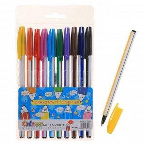 Набор ручек шариковых, 10 цветов, «Полоски», корпус в цвет стержня