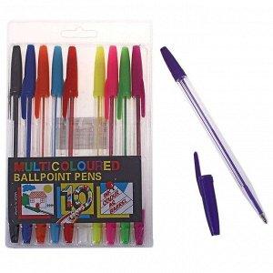 Набор ручек шариковых, 10 цветов, корпус прозрачный, с цветными колпачками