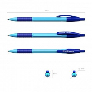 Набор ручка шариковая автомат ErichKrause R-301 Neon Matic & Grip 0.7, синяя, микс