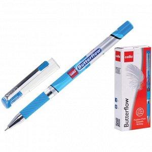 Ручка шариковая Cello Butterflow узел 0.7мм, чернила синие, грип 604
