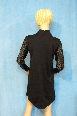 Платье Материал трикотаж, рукава-искусственная кожа. ОГ 92см, ОТ 94см, ОБ102см, длина 86см. Имеет небольшой складской запах, при стирке уходит