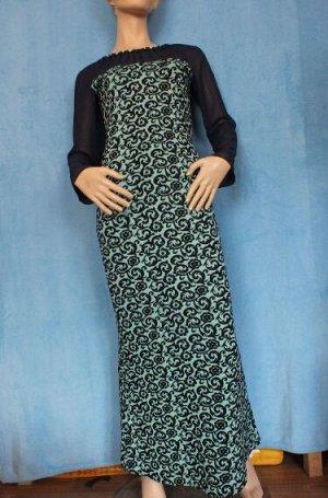 Платье 44: Рукава 58 см, Длина 134 см, ОГ 86 см, ОТ 69 см, ОБ 86 см. 46: Рукава 59 см, Длина 140 см, ОГ 89 см, ОТ 76 см, ОБ 90 см. Имеет небольшой складской запах, при стирке уходит