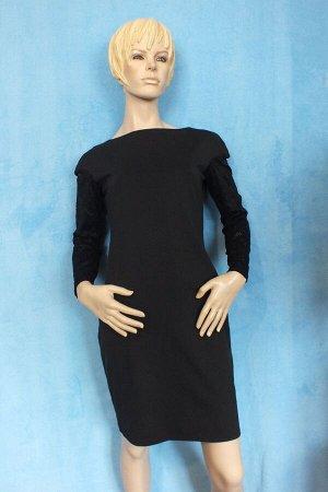 Платье Материал трикотаж, рукава гипюр. 44: Длина 84 см, ОГ 82 см, ОТ 90 см, ОБ 100 см. 46: Длина 87 см, ОГ 90 см, ОТ 96 см, ОБ 110 см. 48: Длина 90 см, ОГ 92 см, ОТ 98 см, ОБ 114см.  Имеет небольшой