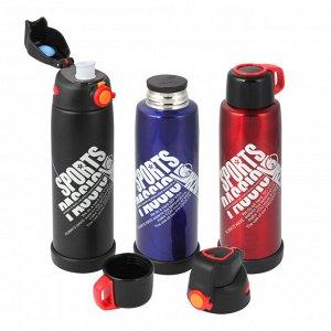 Термос-бутылка SPORTS, 0,6л, крышка-чашка+спортивная крышка, цвет красный (2271)