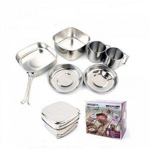 Набор посуды CAMELWILL 6 в1 (тарелка - 2 шт, кружка - 2 шт, котелкок - 2 шт),в чехле,нерж.сталь(304)