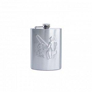 """Фляжка подарочная """"Рыбак"""", 10 OZ (300г), нерж. сталь,в коробке (YH-10B)"""