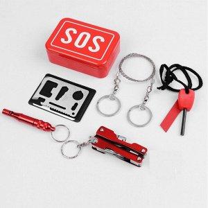 Набор для выживания SOS - мультиинструмент-2 шт, компас, пила-трос, огниво, свисток(YD-13)