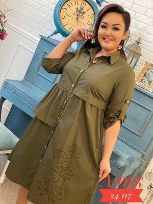 Платье женское в размер. Ткань х/б. Длина 106-110 см.