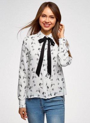 Блузка вискозная с декоративными завязками                   Белый