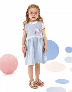 """Сарафан дд Голубое платье без рукавов для девочки. Полотно с включением мягкой люрексовой нити. Дизайнерское оформление в стилистике капсулы """"Ариэлла"""". Стразы и функциональная застежка на пуговице. Де"""