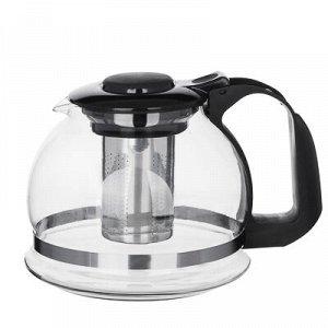 Чайник заварочный 1500мл, ситечко из нержавеющей стали, стекло, полипропилен