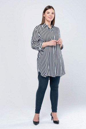 Блузка полоска темно синяя